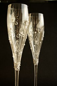 crystal hand painted champagne flute | Request a custom order and have something made just for you.