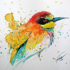 """Bee-eater"" original painting by Tilen Ti Watercolour with gouache 6""x6"" • 15 x 15cm ."