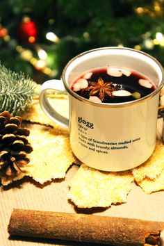 Glogg - a Scandinavian mulled wine made with brandy, almonds, raisins and winter spices. Perfect for cold dark nights and oh so hygge!