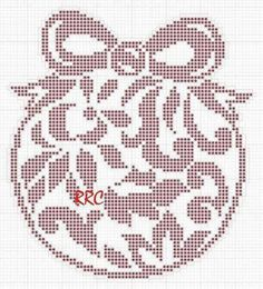 Cross Stitch Christmas Ornaments, Xmas Cross Stitch, Christmas Cross, Crochet Doilies, Crochet Yarn, Easy Crochet Patterns, Cross Stitch Patterns, Filet Crochet Charts, Theme Noel
