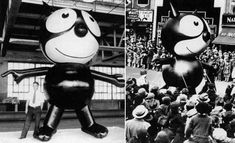 The 1927 Felix the Cat balloon. One of the first balloons to be carried down Broadway on Thanksgiving Day. (image: Macy's Thanksgiving Day Parade) Macys Thanksgiving Parade, First Thanksgiving, One Balloon, Balloons, Nyc Christmas, Felix The Cats, Favorite Holiday, History, Fall Festivals
