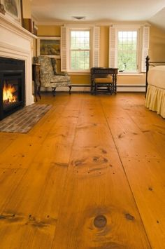 Wide plank pine flooring - I can't get this in my living room fast enough. Love the stain color they used. Wide Plank Flooring, Wooden Flooring, Hardwood Floors, Flooring Ideas, Laminate Flooring, Plywood Floors, Planks, Doors And Floors, Pine Floors