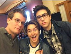 John Green with Nat Wolff and Shailene Woodley for The Fault in Our Stars