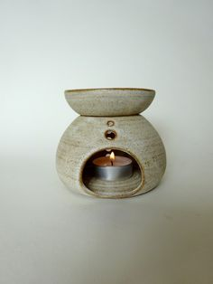 Handmade Ceramic Essential Oil Burner - Rustic White  Essential Oil Diffuser - Aromatherapy by viCeramics on Etsy