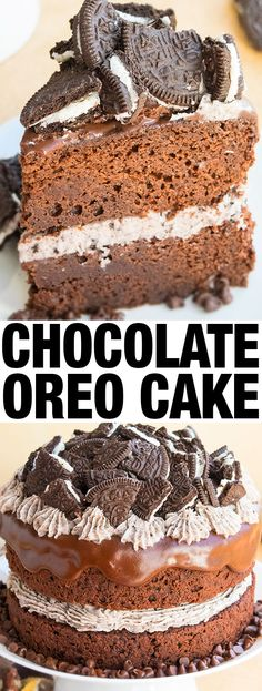 Easy chocolate Oreo cake recipe from scratch filled with Oreo buttercream frosting and topped off with chocolate ganache. Oreo Cake Recipes, Delicious Cake Recipes, Easy Cake Recipes, Best Dessert Recipes, Yummy Cakes, Fun Desserts, Dinner Recipes, Chocolate Oreo Cake, Chocolate Desserts