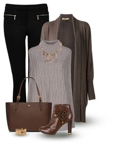 """""""Taupe & Black"""" by johannahoj ❤ liked on Polyvore featuring Forever New, Michael Kors, malo, Tory Burch, Humble Chic and Rebecca"""