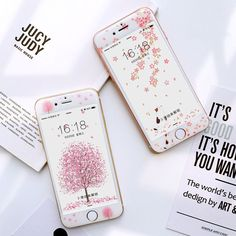 Cute Cartoon Plant Flower Soft Case With Tempered Glass For Iphone 6 7 Plus Iphone 8 Cases, Iphone 5s, Kawaii Accessories, Phone Accessories, Tumblr Phone Case, E Commerce, Kawaii Phone Case, Aesthetic Phone Case, Cat Flowers