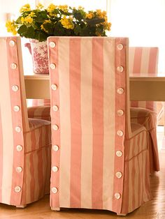 Add chair seat covers to your next Dining room project.  the button detail is so smart!