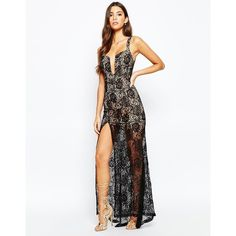 Love Triangle Deep Plunge Maxi Dress In All Over Lace With Thigh Split (€98) ❤ liked on Polyvore