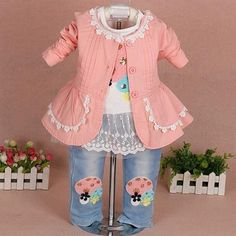 cdefc318d0086 Baby girl clothing set 3pcs girls clothing clothing set girls t shirt kids  pants suit set