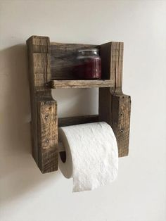 This is a small DIY Wood pallet toilet paper holder with a single shelf. If you have a small bathroom then you can place this wood pallet toilet paper holder with a single shelf in it as it will not take much space yet will be useful enough.
