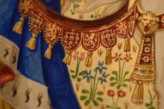 Detail  from the border of the illuminated painting The Lady and the Swan by British artist and illuminator Andrew Stewart Jamieson. The lions are 6mm high.