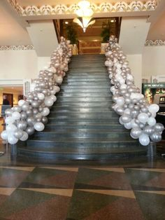 stair way treatment with white and silver balloons Great Gaspy Gala 2013