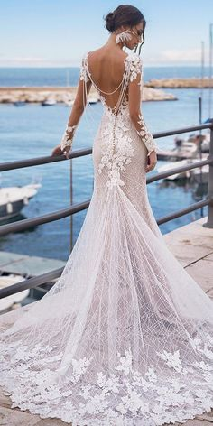 27 Unique & Hot Sexy Wedding Dresses ❤ sexy wedding dresses ideas fit and flare open back with long sleeves lace naviblue Stunning Wedding Dresses, Long Wedding Dresses, Bridal Dresses, Wedding Gowns, Wedding Bride, Wedding Ideas, Wedding Night, Bridesmaid Dresses, Open Back Wedding Dress