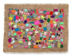 Abstract textile art in neon colors are a new take on the traditional sampler.