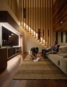 Casas por architect show co. Home Stairs Design, Stair Railing Design, Interior Stairs, Home Interior Design, Interior Architecture, House Design, Minimalist Home Furniture, Open Plan Kitchen Living Room, Modern Staircase