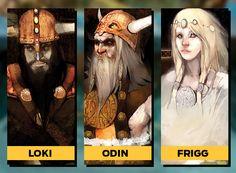 """Loki Odin Frigg  ODIN  Devido ao seu amor pela batalha, é o principal deus da mitologia nórdica - nascida em países do norte da Europa, como Suécia, Dinamarca e Islândia. Odin é o mais velho e sábio dos deuses. Com só um olho bom, ele vive com dois corvos em seus ombros: Huginn (pensamento) e Muninn (memória), que simbolizam a busca pelo conhecimento.  LOKI  """"Pai das Mentiras"""", é parte gigante, parte deus. Às vezes é mostrado como irmão de Thor, mas na mitologia tradicional é irmão adotivo…"""