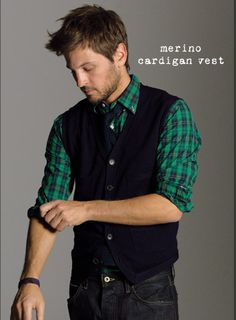Lord knows I love green on the Tim! And a cardigan vest?! Yes please.