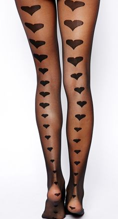 Hearts back seam tights