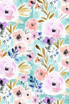 Willow Blooms by crystal_walen - Hand painted watercolor flowers on fabric, wallpaper, and gift wrap.  Beautiful painterly watercolor flowers in pink, peach, purple, and olive.