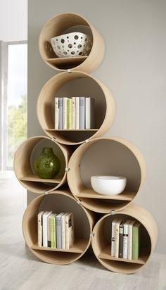 Wall shelf slim 1 tube 2-part by KisskaltDesigns on Etsy. Too cool!