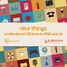 Freebie: Nice Things Icon Set (128 Icons, PNG + AI Source)