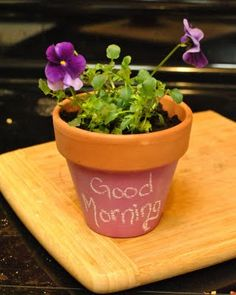 Flower pots painted with chalkboard paint. Or paint acrylic paint and have moms take them home to do kids handprints.