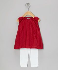 Red Swiss Dot Tunic & White Ruffle Leggings by Petit Confection
