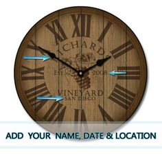 """wine barrel lid - personalize w/name, city, year   sizes 12""""-60"""""""