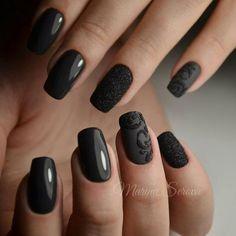 Royal gorgeous elegant marvelous black nail art with glitter ribbons for winter 2016 2017