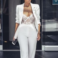The Chicest 31 All-White Party Outfits for Wome 70 Best Chosen Beautiful Wedding Dresses Inspirational Ideas All White Party Outfits, All White Outfit, Classy Outfits, Classy Party Outfit, White Outfits For Women, Formal Outfits, White Party Dresses, White Pant Suit Women, White Parties