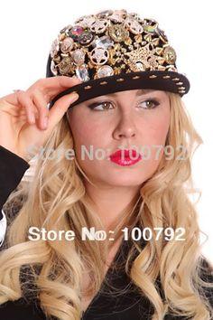 a21266b2d39 Free Shipping luxurious button jewelleryed spike punk rock Snapback cap  hiphop street dancing hat handmade rhinestone