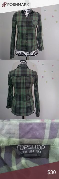 Topshop Green Plaid collared button-down 100% Cotton, green, black & red plaid, button sleeves. Like new! Topshop Tops Button Down Shirts