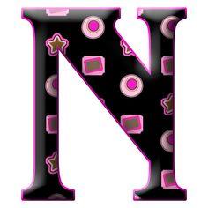 Letra N mayúscula, en negro y morado, para imprimir.