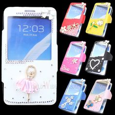 Pretty Window Flip Leather Bling Case Cover For Samsung Galaxy Note 3 III N9000