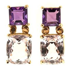 Peter SUCHY - 18k yellow Gold, Fine Amethyst and Morganite Dangle Earrings •€1,570.77 - The gem stones are from the estate of a collector. The earrings are brand new from the Peter Suchy Workshop. The Amethyst are Asscher cut, genuine purple and clear. The Morganite are antique cushion cut. Very bright and sparkly with raised table and small crowns. The earrings are post style for pierced ears.