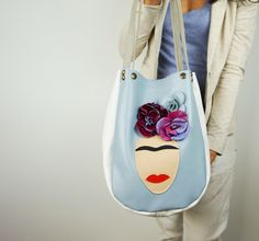 Frida Leather Tote Bag - Sky Blue Leather Art Bag from Neroli Handbags by…