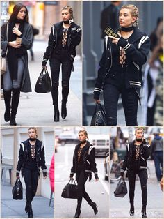 All black everything: Hailey Baldwin stepped out in a racy lace-up bodysuit and ripped jeans on Wednesday She wore her blonde tresses in cute braids and accessorized with a scarf choker. A stylish black and white varsity jacket - likely from her designer pal Tommy Hilfiger - kept out the cold. The BFF of Kendall and Kylie Jenner completed the look with a Givenchy handbag and some stiletto ankle-boots with ribbed detailing.