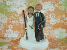 Cake Topper Bride And Groom Hunting / Fishing Theme by mudcards, $130.00