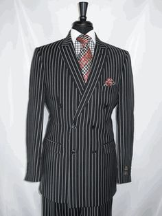 """E.J.Samuel #M2701 """"Black Pin Stripe"""" Double Breasted Mens 6x2 Suit Jacket with Peak Label with 2 Flap Pockets and side vented for style, available for $199.99 @ BerganBrothersSuits.com"""