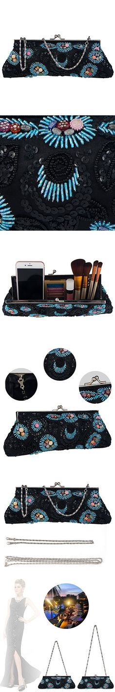 Bagood Womens Embroidered Beaded And Sequined Handbag Party Evening Bag Wedding Bride Clutch Purse