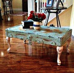 Coffee table from old trunk lid painted in a shabby chic teal and white HGTV Decor! You can do the same thing with a suitcase! Repurposed Furniture, Shabby Chic Furniture, Shabby Chic Decor, Rustic Furniture, Vintage Furniture, Painted Furniture, Diy Furniture, Furniture Stores, Bedroom Furniture