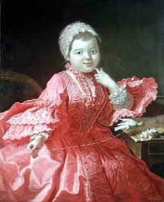 Rene Tiercelin Portrait of a child, 18th century, Rene Tiercelin d.1752. This is a prime example of a child not only being dressed in replica adult clothing but painted as an adult. There's just something all wrong about the sit of her bodice, as if she has breasts. It's as if the gown was painted separately and the head and hands added later.
