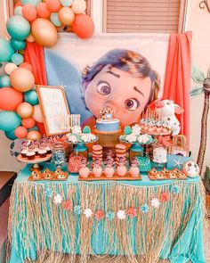 25 Disney First Birthday Party Themes That Are So Good, Walt Himself Would Be Proud Moana Birthday Decorations, Moana Birthday Party Theme, Moana Themed Party, First Birthday Parties, First Birthdays, Birthday Themes For Girls, 3rd Birthday, Birthday Ideas, Disney Party Decorations