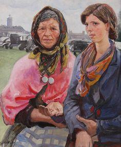 'Gypsies at Ascot', by Dame Laura Knight (English, 1877-1970)