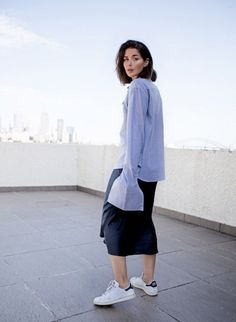 exaggerated blouse + sneakers... - Street Style