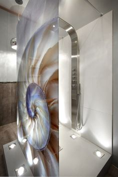 Bed and Bath Revamp | House and Leisure. Glass wall panel and shower screen, mollusk.