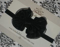 Black Bow Headband, Baby Headband, Black Organza & Satin Headband, Baby Hair Bows, Toddler Headband, Newborn Headband