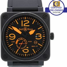 RARE Bell & Ross Limited PVD Black Steel Orange BR01-97 Power Reserve Watch