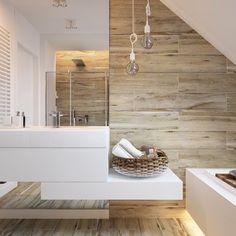 Znalezione obrazy dla zapytania biała łazienka z drewnem